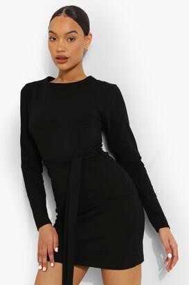 boohoo Long Sleeve Belted Mini Dress