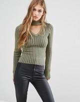 Missguided Neck Tab Skinny Rib Sweater