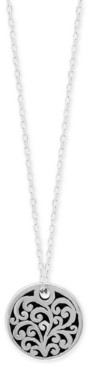 """Lois Hill Scroll Round 16"""" Pendant Necklace in Sterling Silver"""