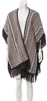 Bruno Manetti Leather Fringe-Accented Knit Cape