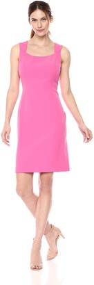 Kasper Women's Solid Stretch Crepe Sqaure Dress
