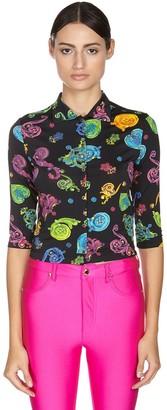 Versace Printed Viscose Stretch Jersey Shirt