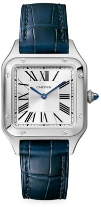 Cartier Santos Dumont de Small Stainless Steel & Navy Alligator-Strap Watch