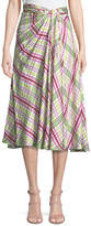 Prabal Gurung Twist-Front A-Line Plaid Silk Twill Skirt with Side Slit