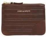 Comme des Garcons Men's Embossed Leather Top Zip Pouch Wallet - Black