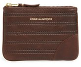 Comme des Garcons Men's Embossed Leather Top Zip Pouch Wallet - Brown