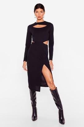 Nasty Gal Womens Address the Slit-uation Cut-Out Midi Dress - Black