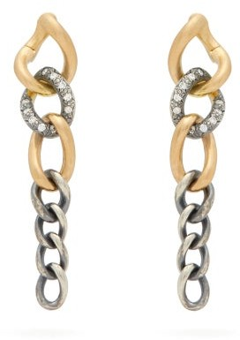 hum Diamond, 18kt Gold & Sterling-silver Drop Earrings - Womens - Silver Gold