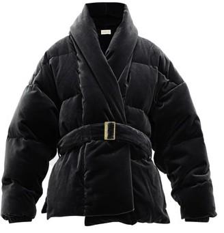 Alexandre Vauthier Belted Down-filled Cotton-velvet Jacket - Womens - Black