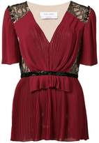 Prabal Gurung pleated deep V-neck blouse