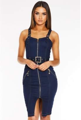 Quiz Dark Blue Denim Zip Front Belted Midi Dress