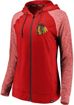 Möve Women's Fanatics Branded Red/Heathered Red Chicago Blackhawks Made 2 Raglan Full-Zip Hoodie