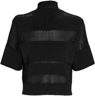 Proenza Schouler Cropped Rib Knit Short Sleeve Top