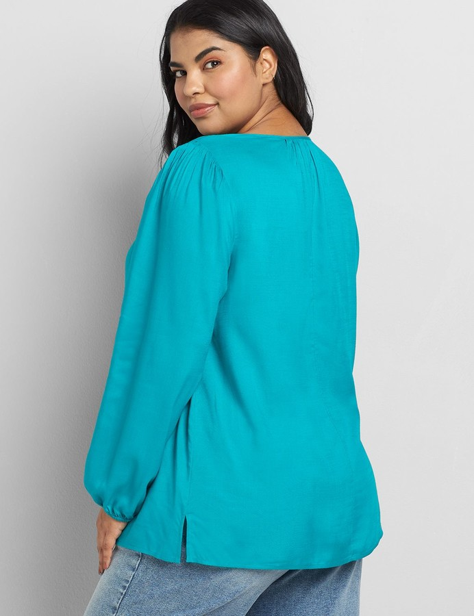 Thumbnail for your product : Lane Bryant Gathered-Seam Peasant Top