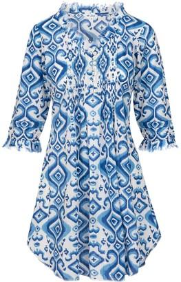 At Last... Cotton Annabel Tunic- Blue Ikat