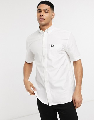 Fred Perry short sleeve oxford shirt in white