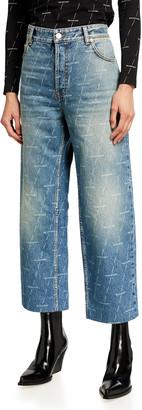 Balenciaga Logo-Print Cropped Lasered Denim Pants