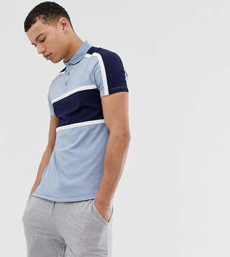 Asos DESIGN Tall skinny polo shirt with stretch and contrast body and shoulder panels in blue