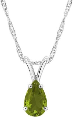 Semi-Precious Gemstone Pendant w/ Chain, Sterling Silver