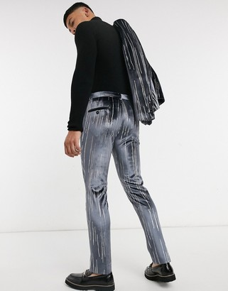 Twisted Tailor suit pants in gray velvet with silver detail