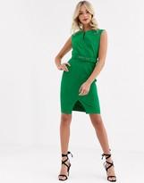 Paper Dolls belted midi dress in green