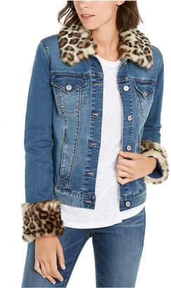 INC International Concepts Inc Faux-Fur-Trim Denim Jacket