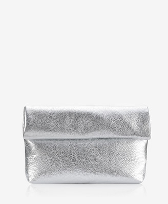 GiGi New York Lindsay Clutch, Silver Metallic Goatskin Leather