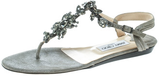 Jimmy Choo Grey Suede Crystal Embellished Flat Thong Sandals Size 39.5