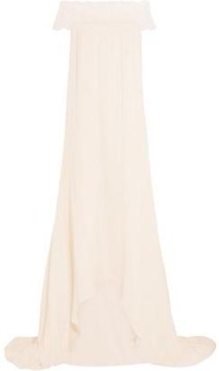 Self-Portrait Self Portrait Bardot Guipure Lace-trimmed Satin Gown