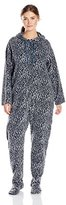 Casual Moments Women's Plus-Size One-Piece Hooded Pajama