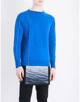 Raf Simons Stitched-detail Knitted Wool Jumper
