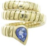 Bulgari 18K Yellow Gold Sapphire Serpenti Ring Size 5