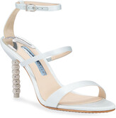 Sophia Webster Rosalind Mid-Heel Satin Crystal Bridal Sandals