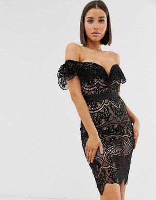 Rare bardot lace midi dress in black/soft pink
