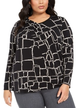 Alfani Plus Size Printed Draped-Front Top, Created for Macy's