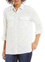 Vince Camuto Two by Long Sleeve Disty Impression Relaxed Utility Shirt