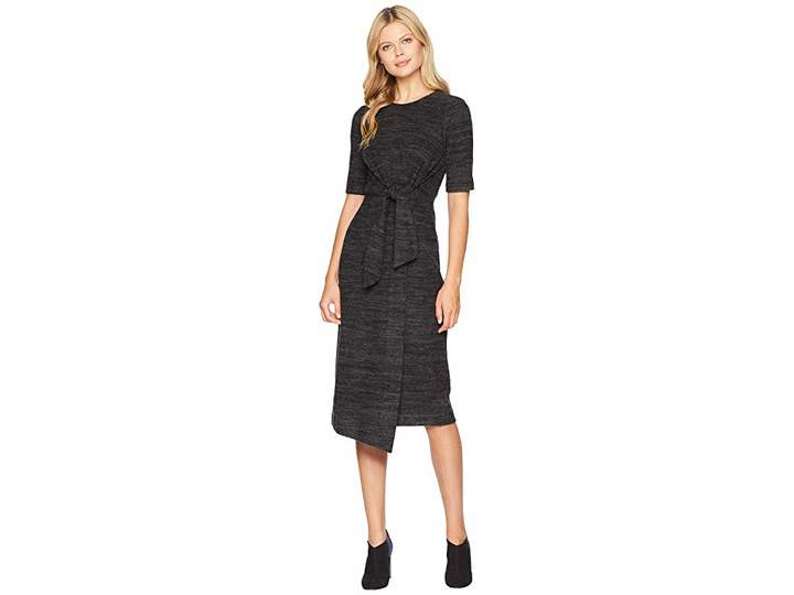 Maggy London Comfy Brushed Knit Tie Front Midi Sheath