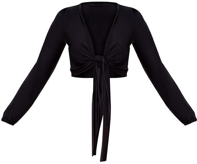 PrettyLittleThing Black Tie Front Slinky Crop Top