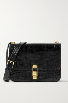 Saint Laurent Carre Medium Croc-effect Leather Shoulder Bag