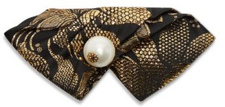 Dolce & Gabbana Faux-pearl Brocade Folded Bow Tie - Womens - Gold