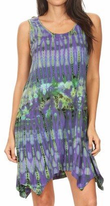 Sakkas 19447 - Dora Women's Sleeveless Knit Loose Casual Shift Print Tank Dress Sundress - 19445-Purple - OS
