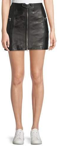 Jonathan Simkhai Zip-Front Leather Mini Skirt