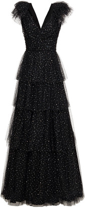 Jenny Packham Tiered Sequined Tulle Gown