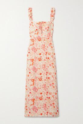 Rixo Cecile Ruffled Printed Crepe Midi Dress - Orange
