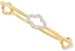 Jude Frances 18k Yellow Gold Rope & Diamond Clover Station Bangle