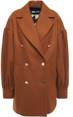 Just Cavalli Gathered Wool-blend Felt Coat