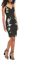 GUESS Ainsley Embroidered Mesh Sheath Dress