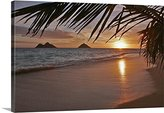 Canvas On Demand Tomas Del Amo Premium Thick-Wrap Canvas Wall Art Print entitled Hawaii, Oahu, Lanikai, Early Morning With The Mokolua Islands In The Distance