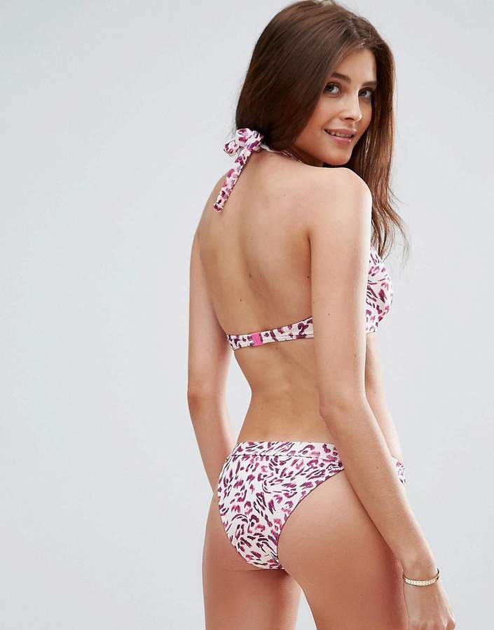 Asos FULLER BUST Mix and Match Hidden Underwire Bikini Top in Pink Animal Print