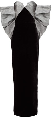 Rasario Bow-embellished Velvet Column Gown - Black Silver